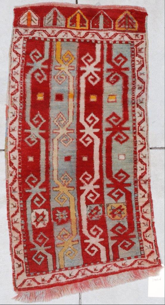 6915 Antique Turkish Yastic Oriental Rug 1 9 X 3 4 Antique