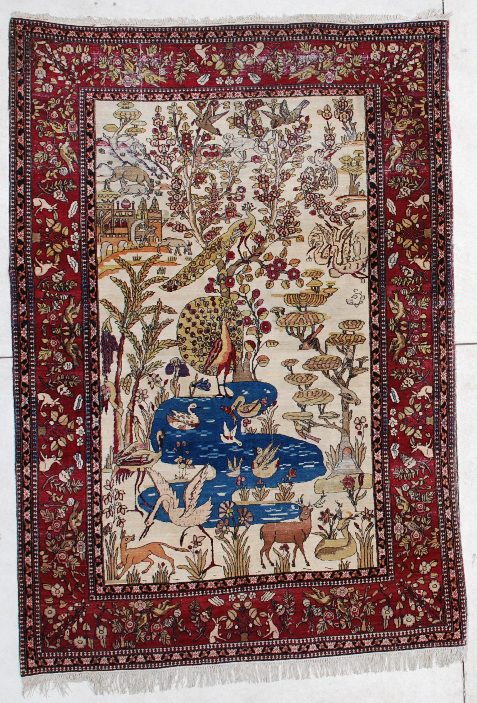 6450 Laver Kerman Persian Antique Rug 4