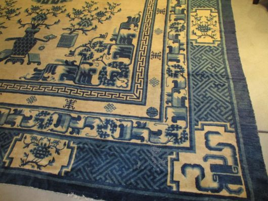 Chinese carpet close up images 6492 peking blue and white
