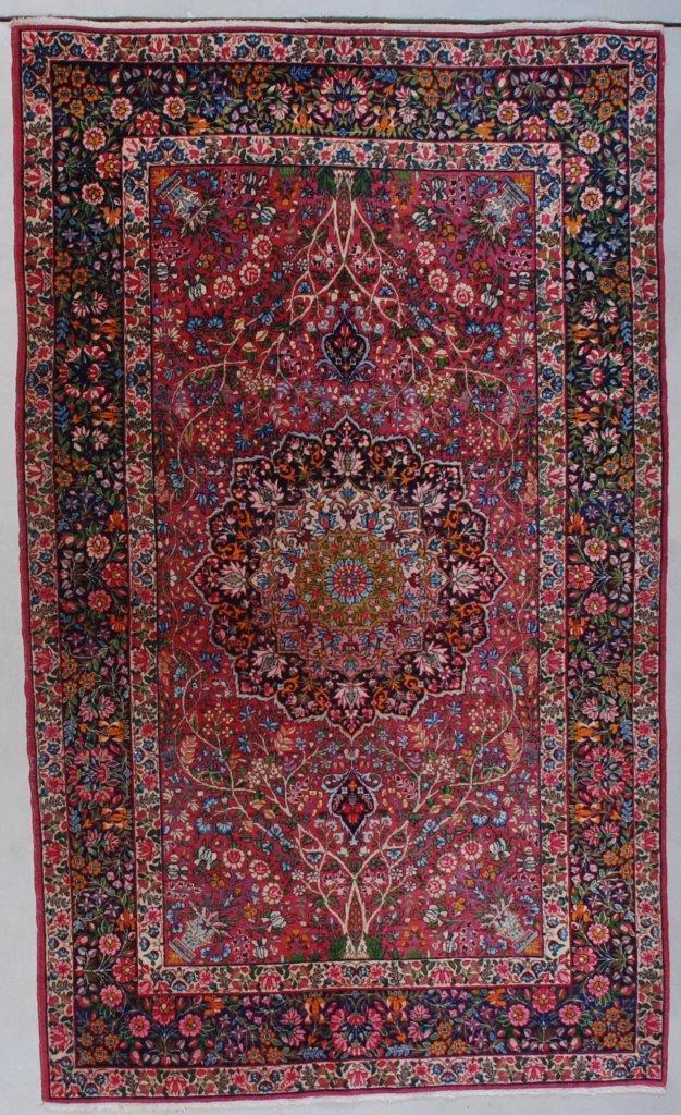 7593 Antique Laver Kerman Persian Rug 4