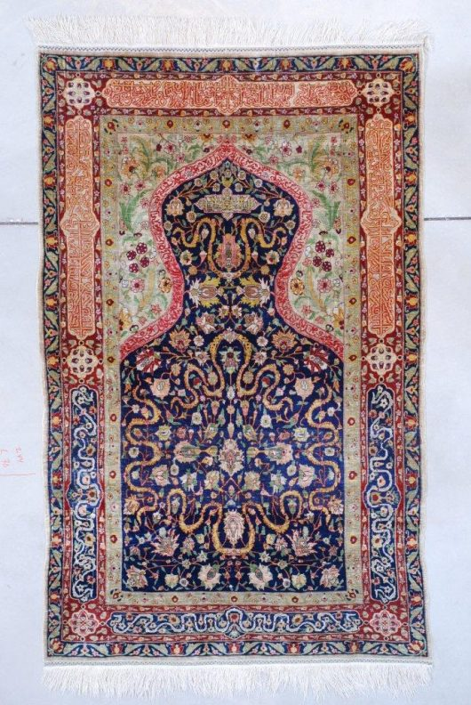7597 Silk and metal hereke rug