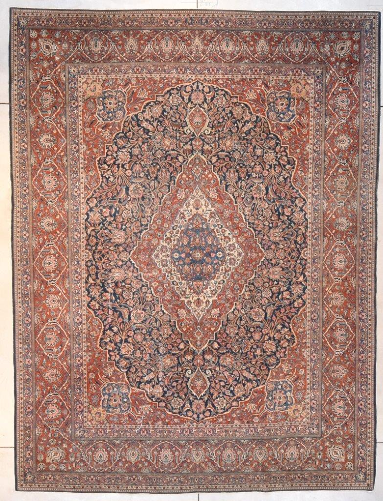 7691 Antique Kashan Oriental Rug 8 7 X