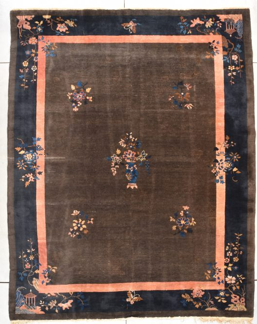 "antique Peking Chinese rug measures 9'0"" X 11'5"""