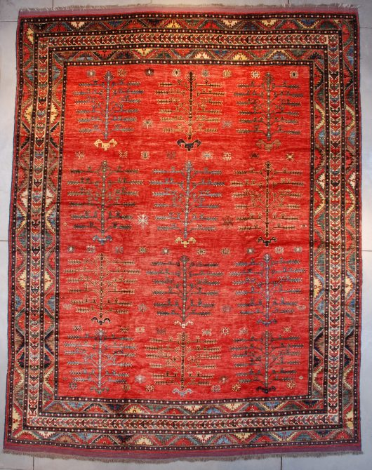 4827 Afghan rug with trees