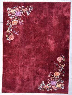 vintage 8038 art deco Nichols chinese rug ruby red